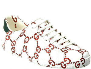 GUCCI Mens 12.5G  white Leather red GG GHOST ACE Sneakers NIB Authentic $830!