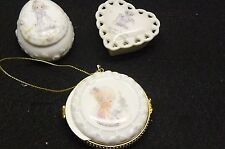 Collectible Precious Moments Porcelain Egg, Locket and Heart Set and Mini Book