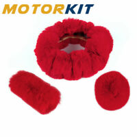 "1 Set Red Steering Wheel Cover Change Lever Cover Fit Car 14""-15"" Outer Diameter"