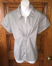 AVENTURA CLOTHING Gray-Green Organic Cotton Raw-Edged Blouse Shirt, NWOT, Sz XL