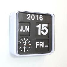 "Fartech Retro Modern 9.5"" Auto Flip Calendar Wall Clock"