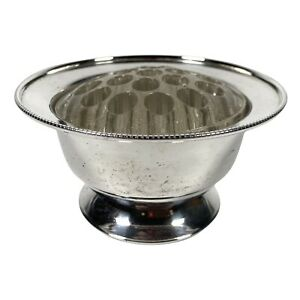 Vintage Silver Plated Posy Bowl With Glass Flower Frog Inside Used Condition