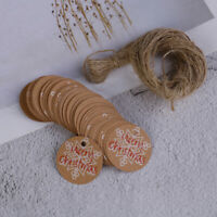 100PCS Merry Christmas Kraft Paper Gift Tags with Jute Twine DIY Crafts TagBLUS