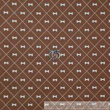BonEful Fabric Cotton Quilt Brown Cream Puppy Dog Bone Small Pattern Print SCRAP