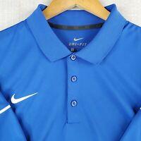 NIKE GOLF Size XL Polo Shirt DRI-FIT Blue Short Sleeve Mens Stretchy Wicking