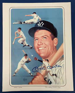 1989 Mickey Mantle New York Yankees Signed LE 11x14 Color Artist Print /1500