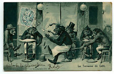 SINGES HUMANISéS GAUFRéS.MONKEYS HUMANIZED EMBOSSED.LA TERRASSE DE CAFé.