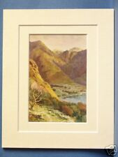 HEAD OF BUTTERMERE AND HONISTER CRAG LAKE DISTRICT CUMBRIA DOUBLE MOUNTED PRINT