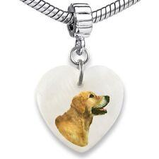 Golden Retriever Dog Heart Mother Of Pearl European Bracelet Charm Bead EBS212