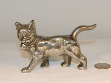 Nickel Plated Bow Tie Cat over 4 inches Long weighs over 1 pound (4630)