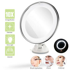 10X Magnifying Round Makeup Vanity Mirror With LED Light Cosmetic Shaving Mirror