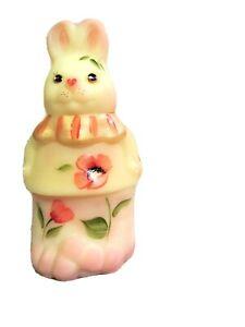Fenton Burmese Glass Handpainted 2-pc. Standing Easter Bunny Trinket Box, new
