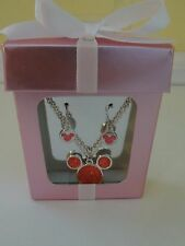 Disney Parks Minnie Earrings & Necklace Mickey Mouse Jewelry Boxed Gift Set New
