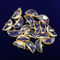 6Pcs Wrapped Faceted White Crystal Half-Moon Pendant Bead 23x15x6mm NN1247