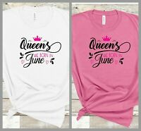 Classic white T shirt Queens are born in fun slogan printed tee top short sleeve
