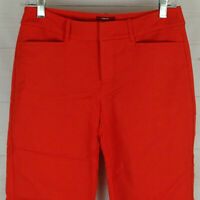 MERONA womens size 2 stretch solid orange flat front cropped tapered pants