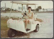 Vintage Color Photo Woman Driving 3 Wheel Golf Cart Electric Car 664963