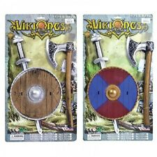 Child's Viking Toy Weapon Shield Sword Axe Set Kids Fancy Dress Up Kit
