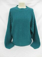 Aran Cable Knit Sweater, Chunky Knit Jumper, Large, Teal, Wool Blend, 54cm Wide