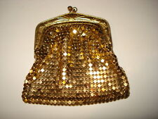 ANTIQUE VINTAGE YELLOW GOLD METAL SMALL MESH PURSE FRAMED NOT GOLD