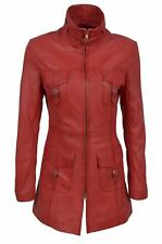 Red Ladies Woman's Vintage Soft Washed Real Leather Jacket Trench Coat