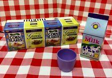 VTG Play Food Pretend Corn Flakes Granola Cereal BOX Milk Tupperware Cup PF22