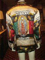 NWT MEN'S METALLIC BAROQUE VIRGEN DE GUALUPE MEXICO SILK STYLE SHIRT MEDIUM