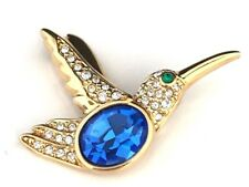 Rare Vonelle Crystal Bird Blue Belly Clear Pave Set Accents Brooch 6S