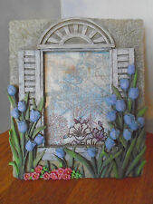 """Purple Tulips, Picture Frame, 5""""x 4"""" Picture, Raised Pattern, Floral Design, Vg"""
