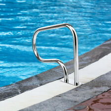 Swimming Pool Hand Rail Stainless Steel Ladder Outdoor Stair Rail w/ Base Plate