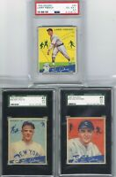 1934 GOUDEY LOU GEHRIG SAYS Lot of 3 Baseball Cards Graded PSA 4 . 5 & SGC 3 . 5