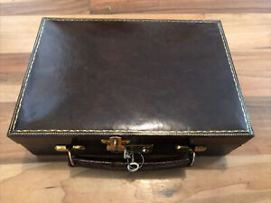 Beautiful Antique A Boswell Edinburgh Small Leather Suitcase/ Box With Key
