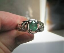 Men's Natural Emerald Ring In 925 Sterling Silver - New Genuine Emerald Size 11