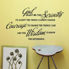 GOD GRANT ME THE SERENITY PRAYER BIBLE Art Quote Vinyl Wall Stickers SH