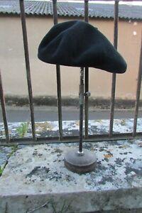 Vintage French Genuine Black Wool Breton Beret Hat NWOT Size 54/9.1/2