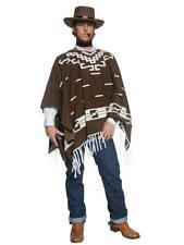 Mens Wild Western Gunman Clint Eastwood Cowboy Fancy Dress Costume Poncho