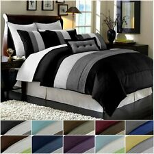 Chezmoi Collection Luxury Striped Pleated Comforter Bedding Set