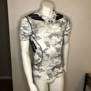Under Armour Football Shirt Padded Base Layer White Camo 1255324-100 Mens Large