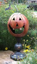 PUMPKIN Head CANDLE HOLDER*Primitive Whimsical Table Centerpiece/Porch Decor