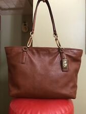 Coach Madison East West Pebbled Leather Chestnut Brown Tote Shoulder Bag 26769