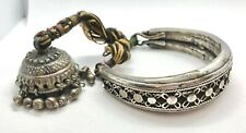 Old Sterling Silver w/ Bell Antique Bajuband Armlet Tribal -
