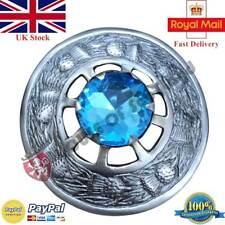 Kilt Fly Plaid Brooch Sky Blue Stone Antique Finish Scottish Pin & Brooches +Box