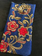Glasses Case Pouch Silk Blue Gold Embroidered Eyeglass Sun Glasses Case Holder