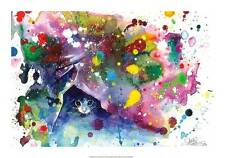 CAT ART PRINT - Meow by Lora Zombie Fantasy Animal Abstract Kitten Poster 14x20
