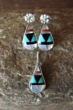 Zuni Sterling Silver Turquoise Inlay Pendant and Earring Set