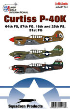 P-40 K Warhawk: 51, 57 FG sharkmouth nose art (1/48 decals, Superscale 481261)