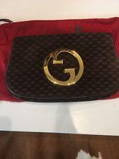 Vintage Blondie Gucci Suede Brown Gold Clutch