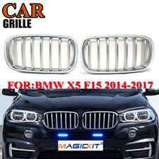 Pair for BMW F15 X5 X6 F16 2014-2017 Silver Chrome Front Kidney Grilles Grills