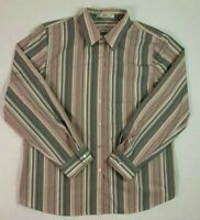Orvis Womens Dress Shirt Sz 14 Mother of Pearl Button Front Long Sleeve Striped