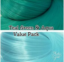 Teal Green & Aqua Blue Xl 2 Color Value Pack Nylon Doll Hair Reroot Monster High